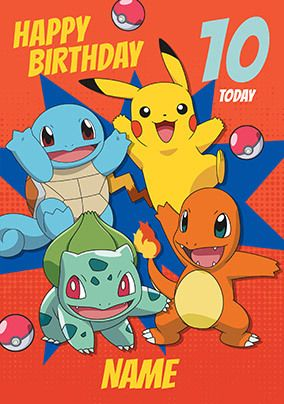 Happy 10th Birthday Pokemon Personalised Card