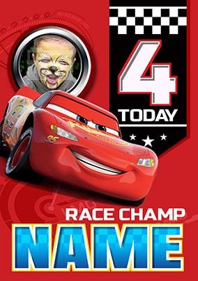 Lightning Mcqueen Age 4 Birthday Card