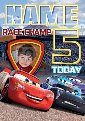 Cars 3 Age 5 Photo Birthday Card