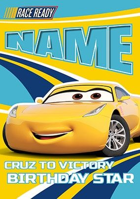 Cruz To Victory - Cars 3 Birthday Card