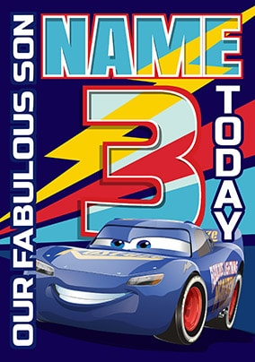 Lightning McQueen Son Photo Birthday Card