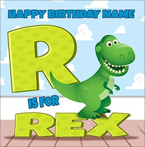 Toy Story - R For Rex Birthday Card