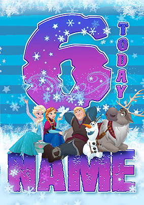 Frozen Age 6 Personalised Birthday Card