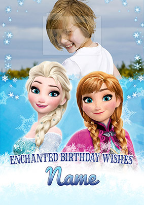 Gifts Elsa and Anna Photo Birthday Card - Giant - By Funky Pigeon