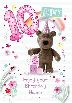 Barley Bear Girl's 10th Birthday Personalised Card