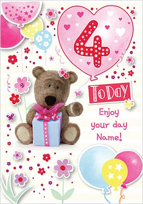 Barley Bear Girl's 4th Birthday Personalised Card