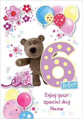 Barley Bear Girl's 6th Birthday Personalised Card