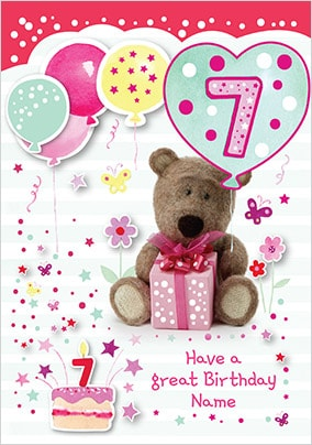 Barley Bear Girl's 7th Birthday Personalised Card