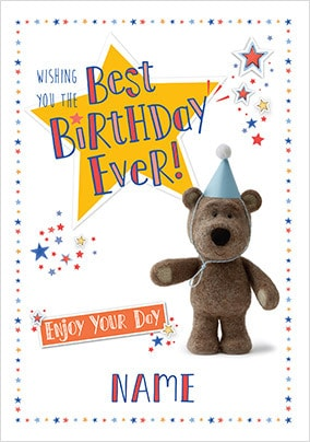 Barley Bear Best Birthday Personalised Card