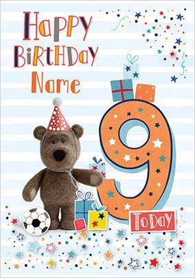 Barley Bear Boy's 9th Birthday Personalised Card
