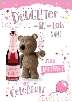 Barley Bear Daughter-In-Law Personalised Birthday Card