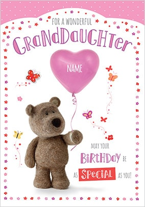 Barley Bear Granddaughter Personalised Birthday Card