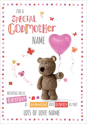 Barley Bear Special Godmother Personalised Card