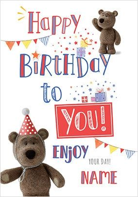Barley Bear Happy Birthday Personalised Card