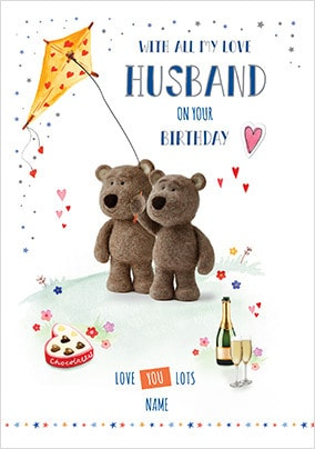 Barley Bear Husband Birthday Personalised Card