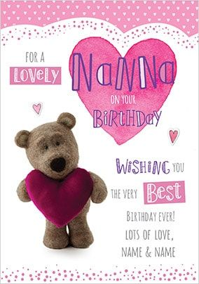 Barley Bear Nanna Personalised Birthday Card