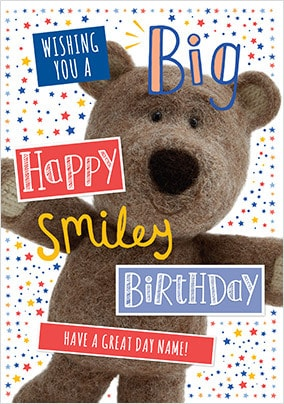 Barley Bear Smiley Birthday Personalised Card