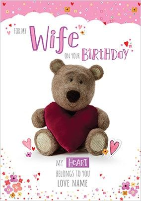 Barley Bear Wife Personalised Birthday Card