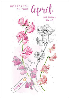 April Birthday Personalised Card
