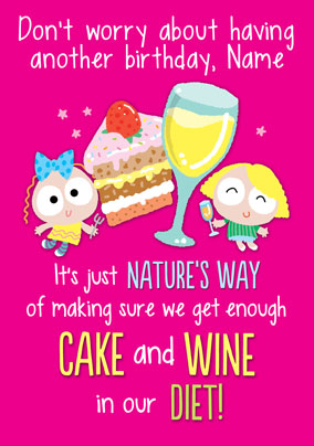 Cake And Wine Diet Birthday Card