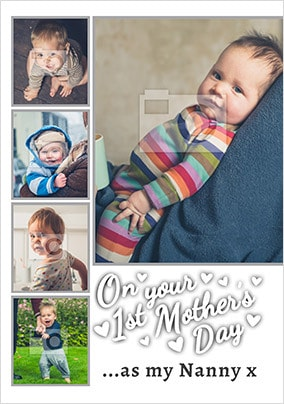 1st Mother's Day As Nanny Multi Photo Cards
