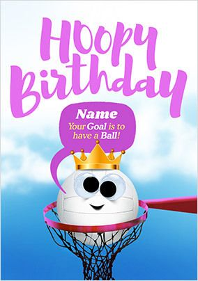 Hoopy Birthday Netball Personalised Card