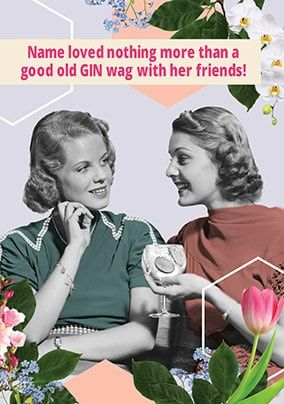 Gin Wag With Friends Personalised Card