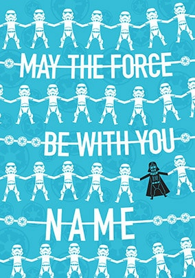 Force Be With You Blue Personalised Card