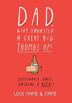 Dad - Big Thumbs Up Personalised Card