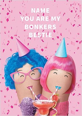 Bonkers Bestie Personalised Birthday Card
