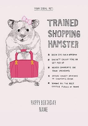 Trained Shopping Hamster Personalised Card