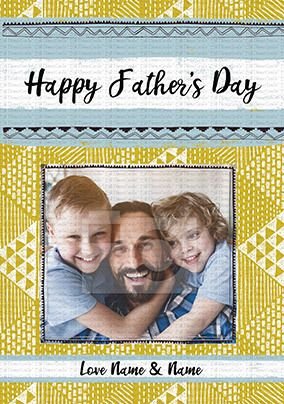 Happy Father's Day Patterned Personalised Card