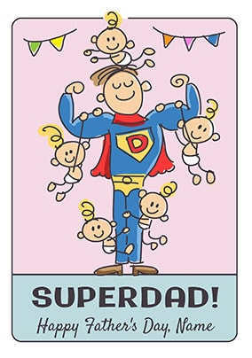 Babette - Super Dad Personalised Father's Day Card