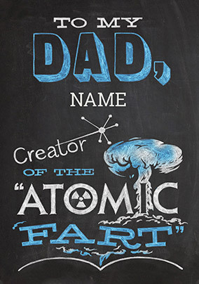 Atomic Fart Personalised Father's Day Card