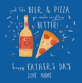 Beer & Pizza Personalised Father's Day Card