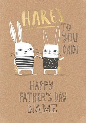 Hares To You Dad Personalised Father's Day Card