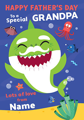 Baby Shark Grandpa Personalised Father's Day Card
