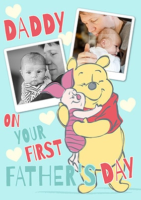Winnie the Pooh First Father's Day Photo Card