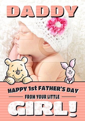 Girl's 1st Father's Day Photo Card
