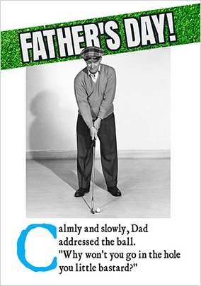 Angry Golfer Personalised Father's Day Card