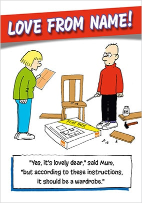 Flat Pack Furniture Personalised Dad Card