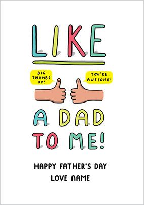Like a Dad to me Personalised Card