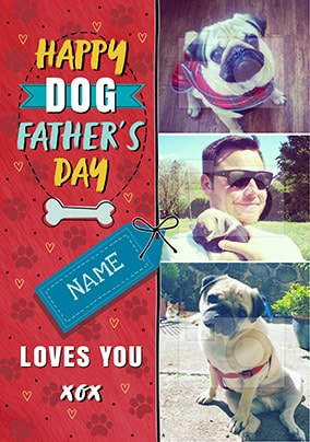 Happy Dog Father's Day Multi Photo Card