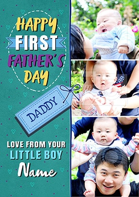 Little Boy First Father's Day Photo Card