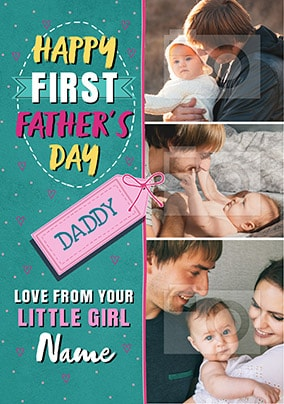 Little Girl First Father's Day Photo Card