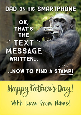 Dad On Smartphone Personalised Father's Day Card
