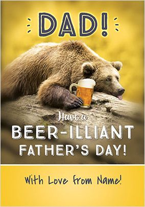 Beer-illiant Father's Day Personalised Card