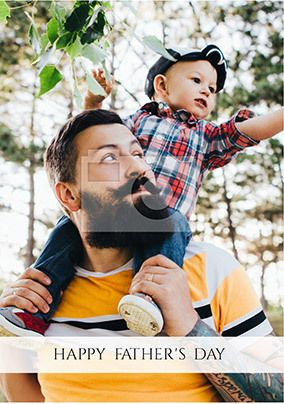 Happy Father's Day Full Photo Upload Card - Text Banner