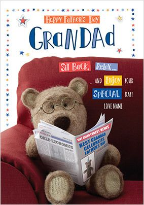 Barley Bear - Grandad Father's Day Personalised Card