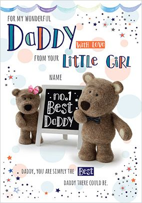 Barley Bear - From your Little Girl personalised Card